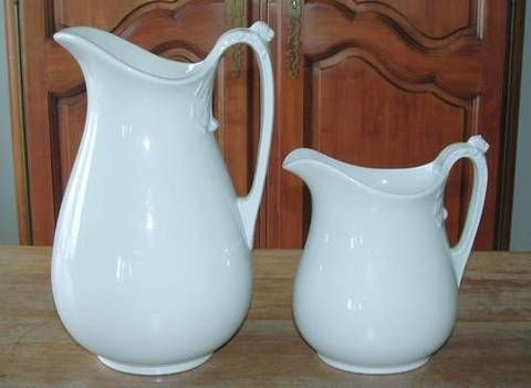 Ironstone Pottery | Pair Large Antique English WHITE IRONSTONE PITCHERS J. Edwards-obo for ...