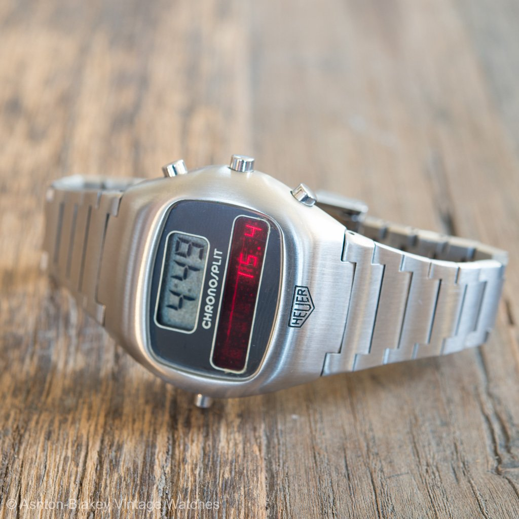 80ae9dea456 HEUER CHRONOSPLIT -R100-703 LCD LED with Box and Papers This rare LCD-LED  Heuer watch