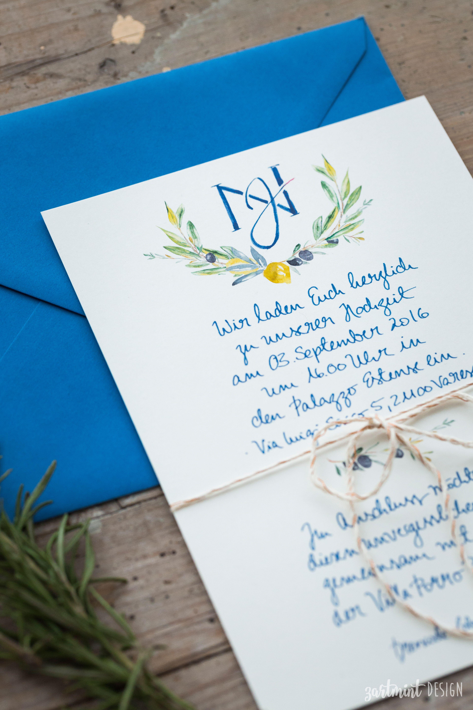 Hochzeitspapeterie mediterran mit oliven zitronen im aquarellstil ♥ einladung hochzeitseinladung danksagungskarte dankeskarte