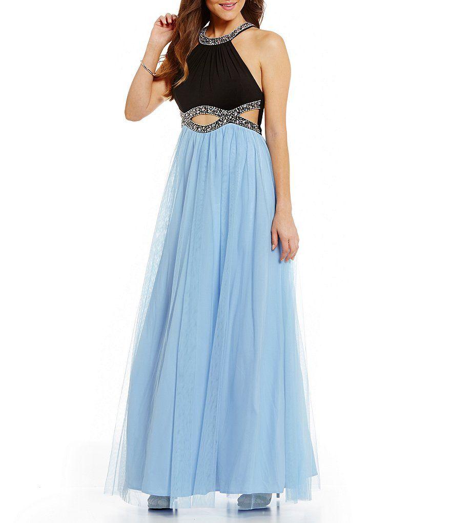 Blondie Nites Infinity Beaded Waist Color Block Long Dress | Šaty ...