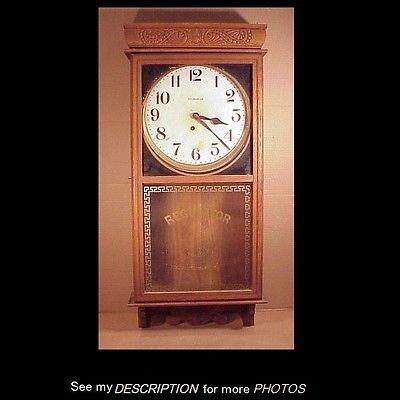 Antique Ingraham Oak Regulator Wall Clock 36 1 2 L Barber Shop Clock Wall Clock Antique Clocks