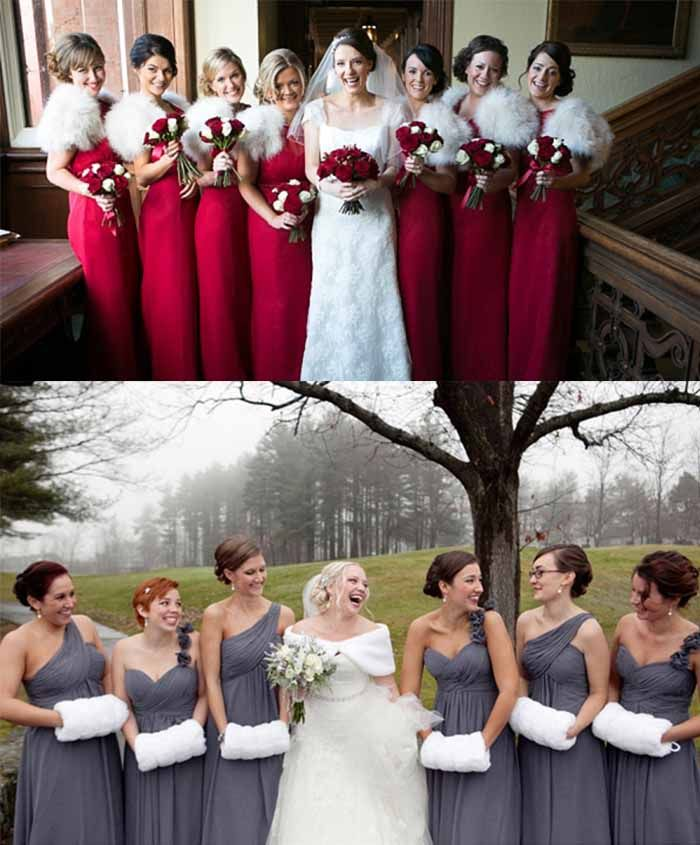Bridesmaid Dresses With Shrug And Hand Warmer