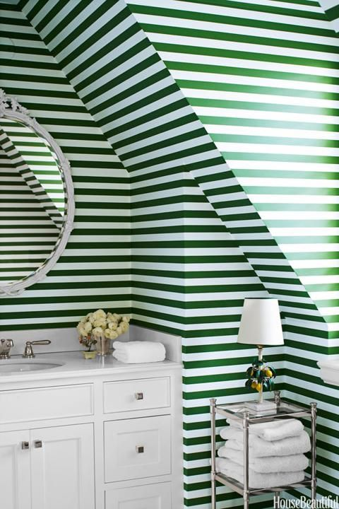 Striped Wallpaper In The Bathroom.