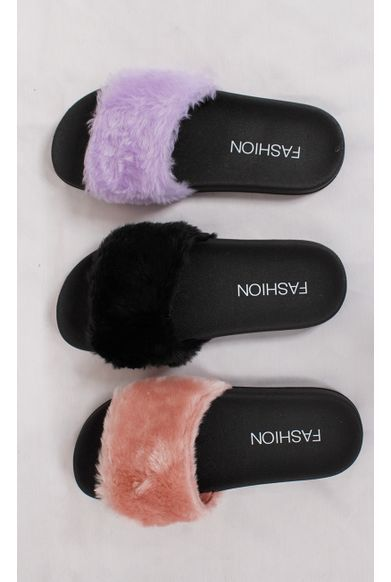 Chinelo Slide Fluffy Rosa fashioncloset mobile | Chinelo