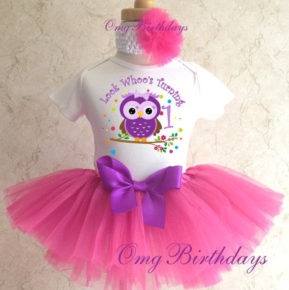 Birthday Purple Pink Owl Look Whoos Whos Age First 1st