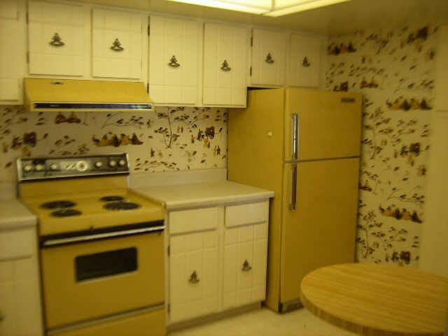 70s Kitchen Decor | 1970s 70s decor kitchen ugly wallpaper harvest ...