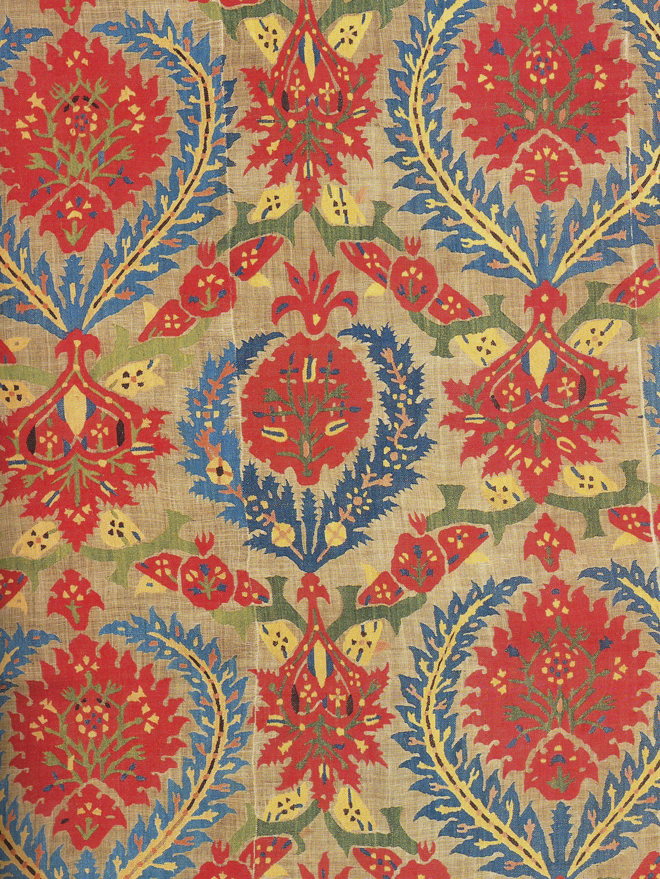 Ottoman Cover Fragment Linen With Silk Embroidery 17th