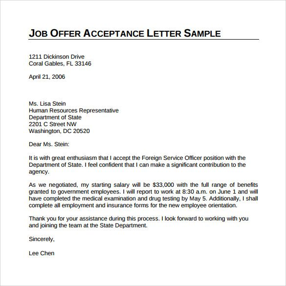 sample offer acceptance letter download free documents pdf - sample job acceptance letter