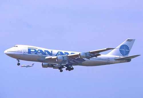 """Pan American World Airways Boeing 747-212B N723PA """"China Clipper II"""" on final approach to LAX, May 1987."""