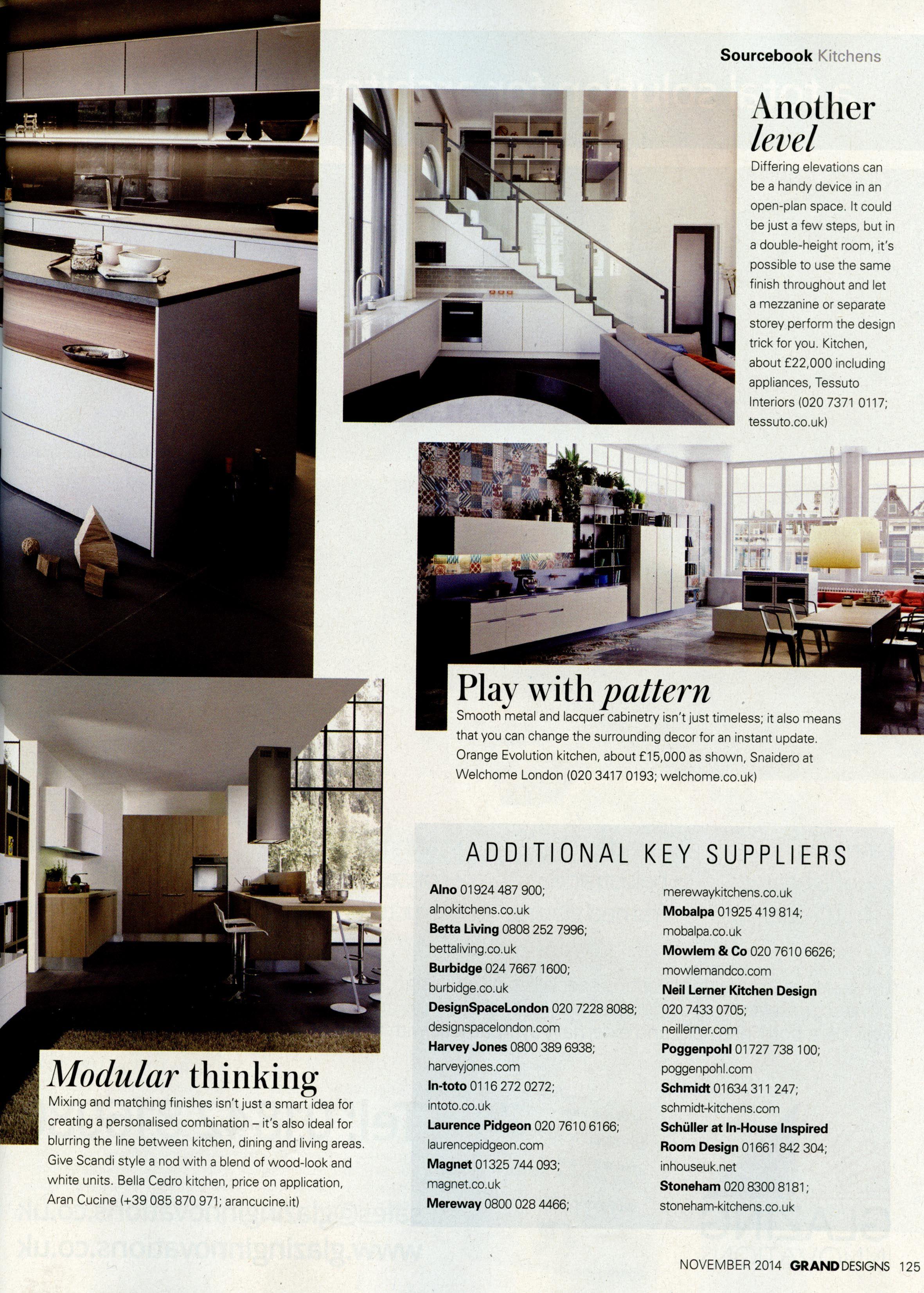 Key kitchen suppliers: DesignSpace London designspacelondon... Grand Designs November 2014