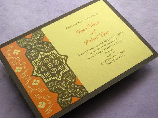 Fall Persian Wedding Invitation Bridal
