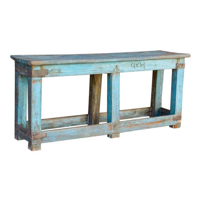 Colonial Blue Farm Table Faux Walls Vintage Bookshelf Teak Wood