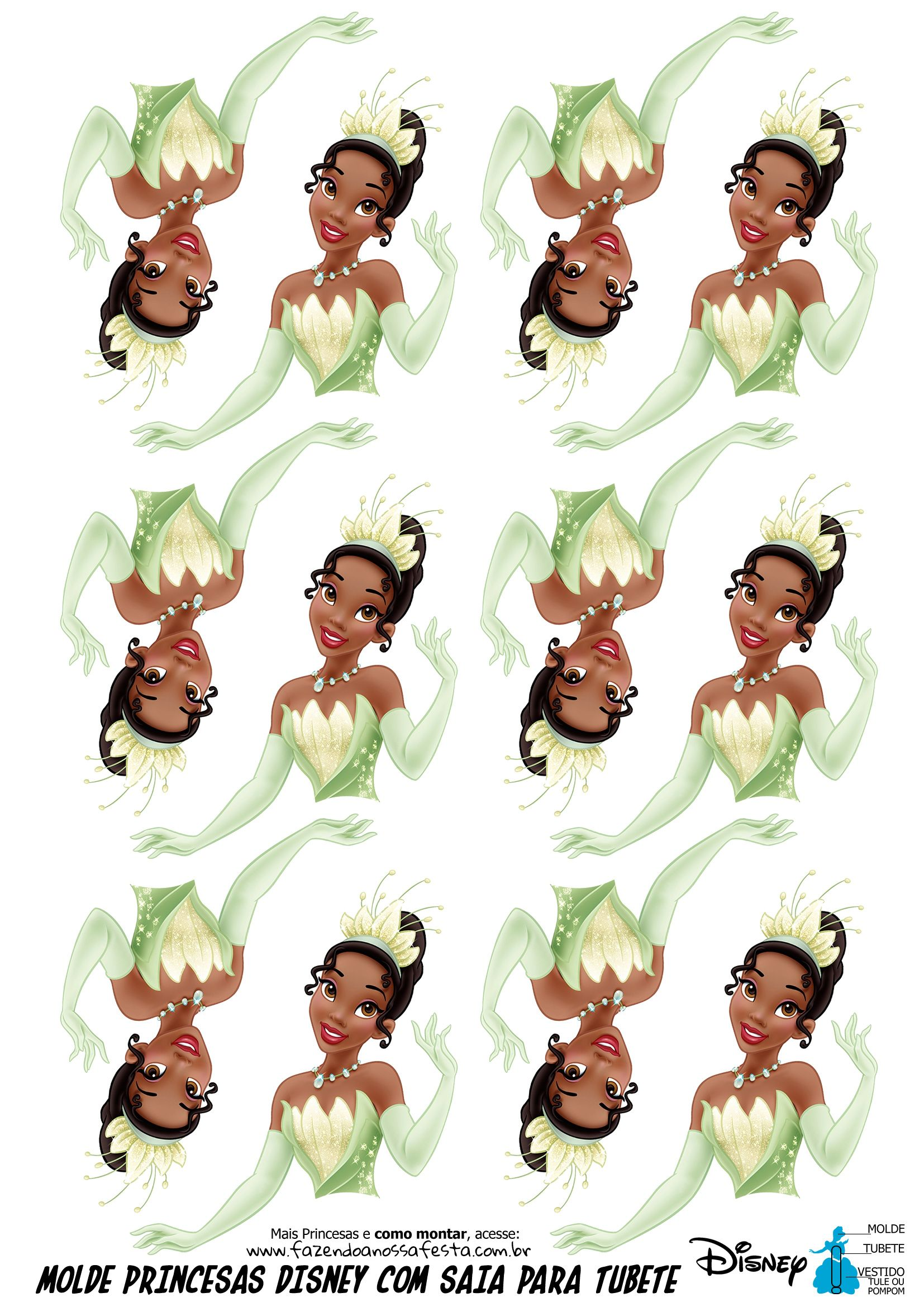 Molde Tubete Vestido De Tiana Com Imagens Tiana