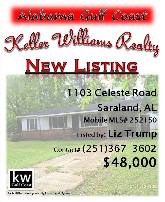 Saraland Houses: 1103 Celeste Road, Saraland, AL...MLS# 252150...$48,000