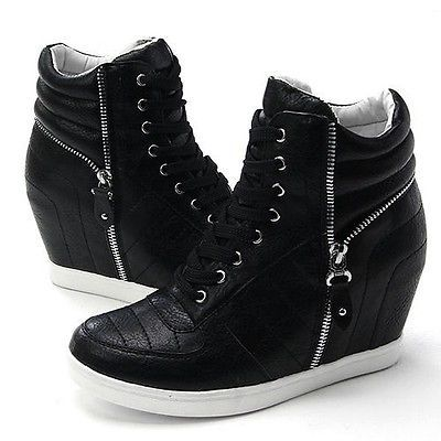 45NRI772 Women Black Womens Velcro Low Top Chunky Concealed Wedge Casual Trainers Attractive Design