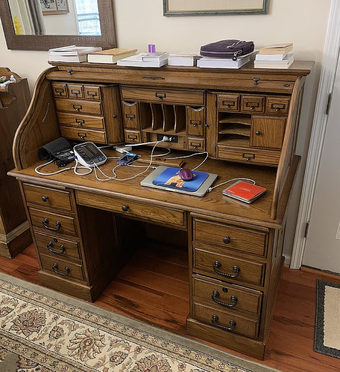 Roll Top Desk Solid Wood Deluxe Executive Oak 54x28x49 Classic Home Office Organizer Roll Top Desk Home Office Organization Solid Wood Desk