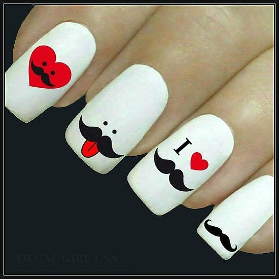 trendy cool mustache nail art designs a second part