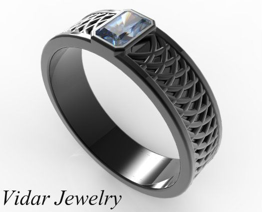 Blue sapphire and diamond wedding band set made from palladium