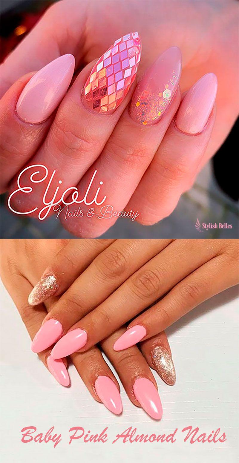 Cute Baby Pink Almond Nails Ideas In 2019 Shiny Nails Designs Nail Designs Stylish Nails Art