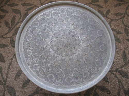Persian Hand Hammered Ghalam Zani Copper Tin Tray Large
