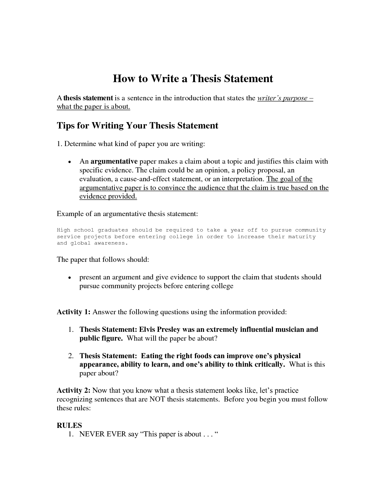 writing a thesis statement for middle schoolers Directed learning activity: creating dynamic thesis statements a thesis statement is often kind of writing, the thesis appears in the introduction or very.