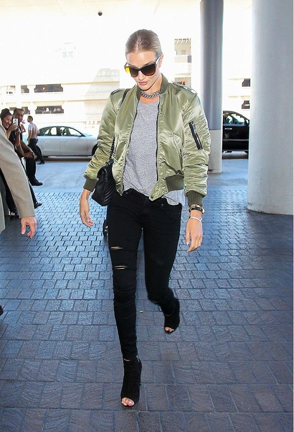 WHAT SHE WORE: Rosie Huntington Whiteley in olive green