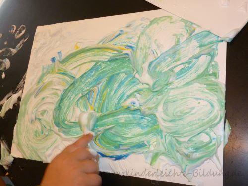 Fr he bildung kinderleicht wir malen mit rasierschaum maltechniken pinterest kinder - Maltechniken kindergarten ...