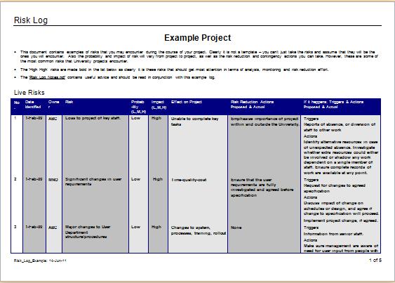 Risk Log Templates 13 Free Printable Word Excel Pdf