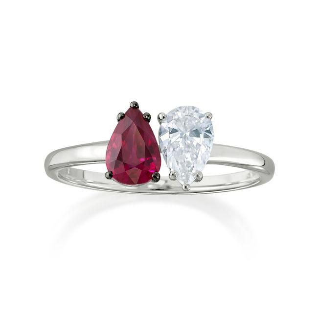Anel Toi et Moi Rubi - Anel em ouro branco 18k com rubi e diamantes.