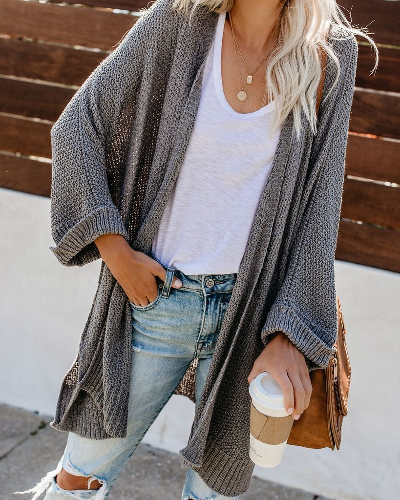 PREORDER - Take It Easy Knit Cardigan - Grey Mint