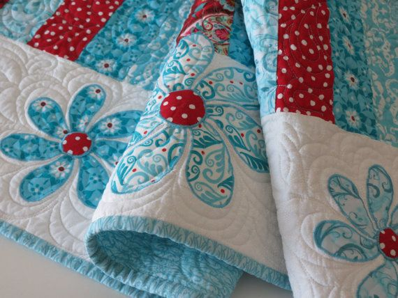 Turquoise And Red Quilted Table Runner With Appliqued Flowers Tiffany Blue,  Aqua