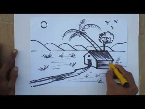 Village Nature Scenery Drawing Easy Tutorial For Kids Youtube