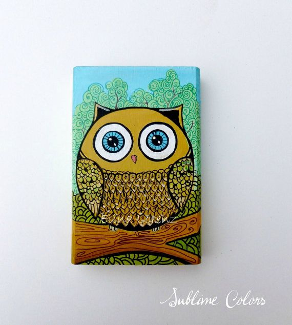 Owl in the tree Hand Painted wooden Block by by sublimecolors, $29.99