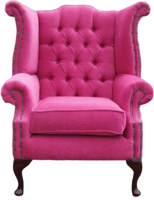 Bright Pink Chesterfield Cueen Anne Chair | Rooms for living ...