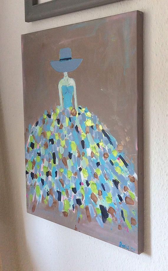 Cest Un Tableau Moderne Qui Représente Une Femme Dans Une Robe Aux