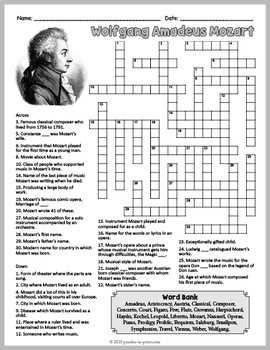 Famous Composers Activity Wolfgang Amadeus Mozart Crossword Puzzle Famous Composers Crossword Puzzle Crossword