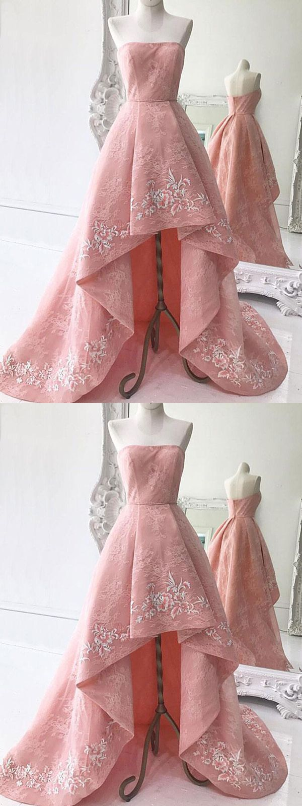 Pink prom dress aline strapless asymmetrical lace appliques prom