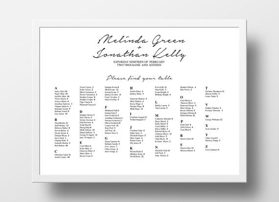 Printable Seating Chart Poster Template Editable PowerPoint - printable seating charts