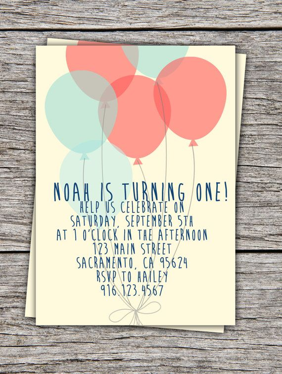 Balloon birthday invitation by scribblesandswatches on Etsy, $12.00