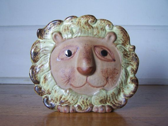 Vintage Stoneware Lion Wall Planter by highwatervintage on Etsy, $14.00
