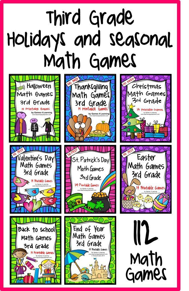 3rd Grade Math Games Holidays Bundle: End of Year Math, Back to ...