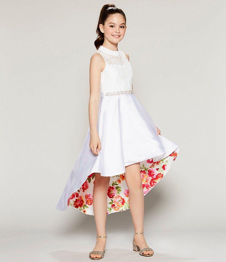 7d8b0326d1b7 Rare Editions Big Girls 7-16 Lace/Floral Inner Beauty Hi-Low Dress ...