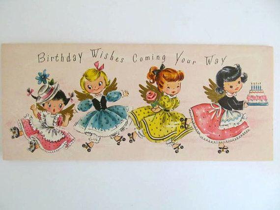 Vintage 1950s Girls Birthday Card, Unused Birthday Greeting Card, Retro Paper Ephemera