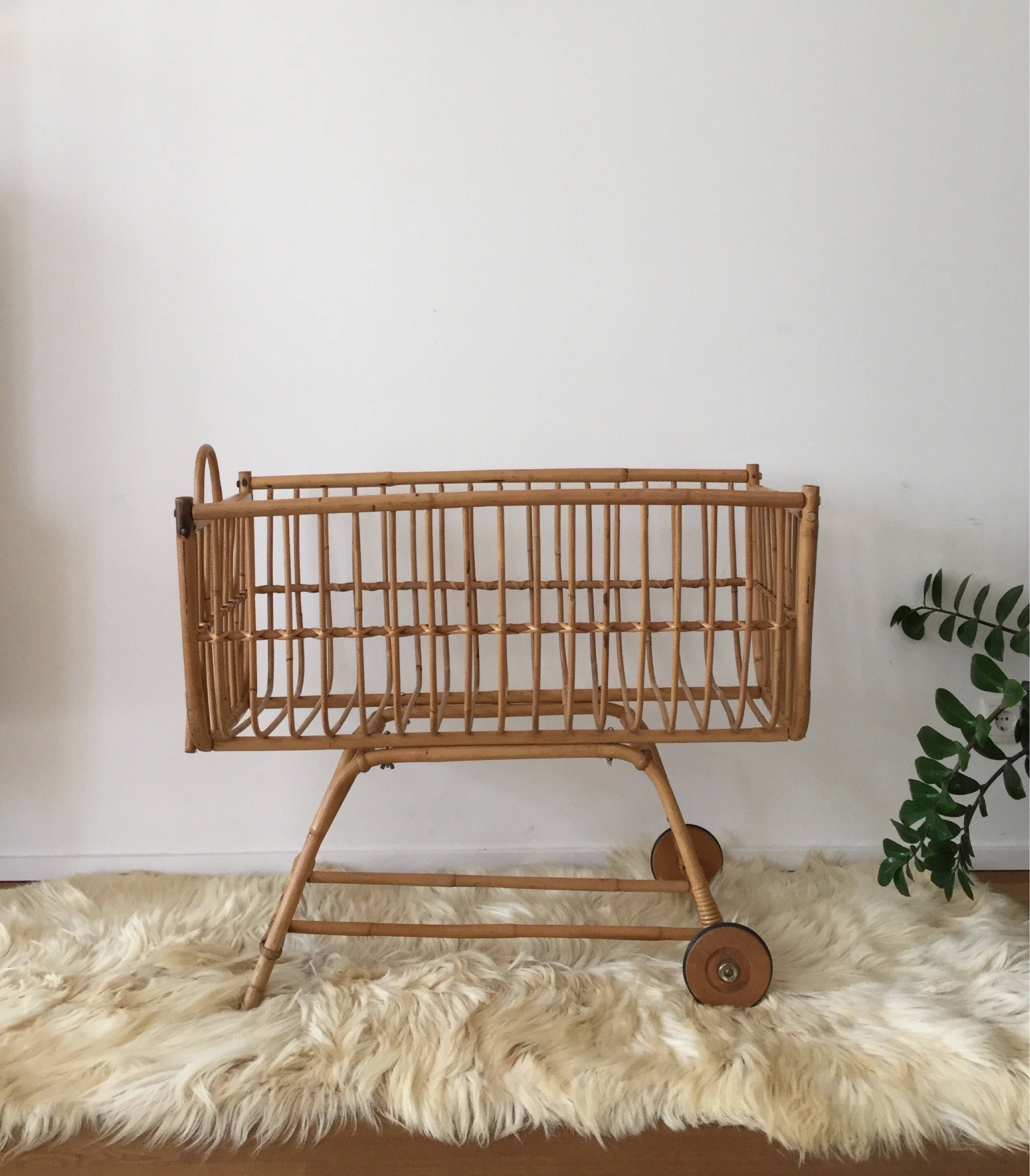 Mid Century 60s Baby Bed Parlour Cart Cradle Made Of Rattan Bamboo