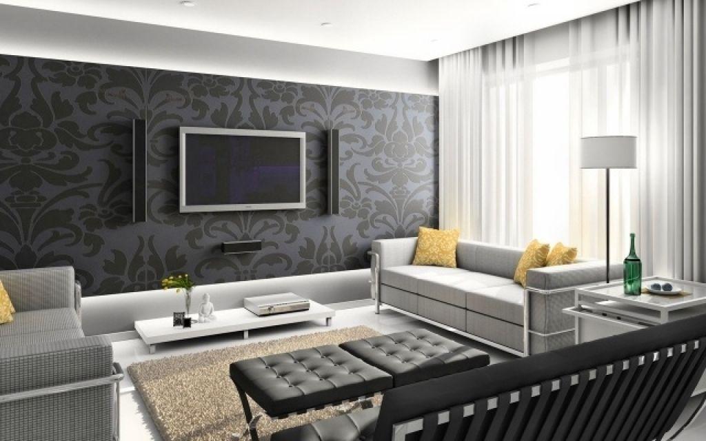 Interior design wohnzimmer modern  wohnzimmer modern tapete wandgestaltung tapete wohnzimmer florale ...