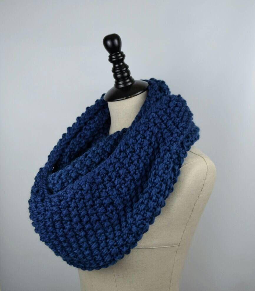 Blue Knit Infinity Scarf, Seed Stitch Scarf, Chunky Knit Long Scarf ...