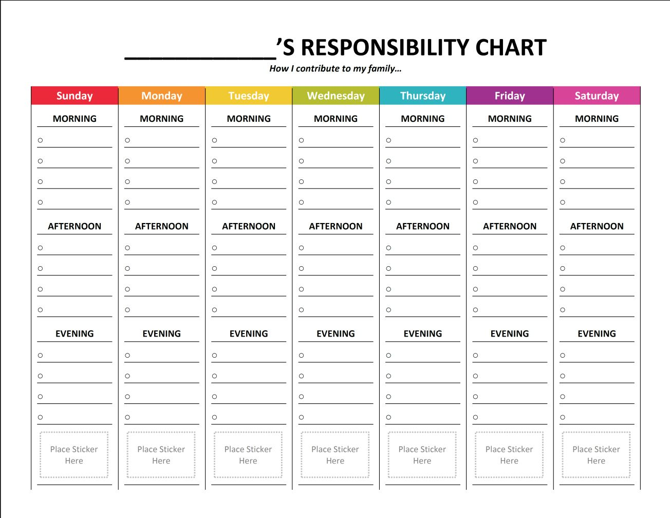 complete housekeeping printable set responsibility chart and charts responsibility chart blank write in