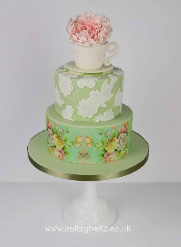 Vintage style teacup birthday cake by Kirsty Low wwwcakeybakecouk