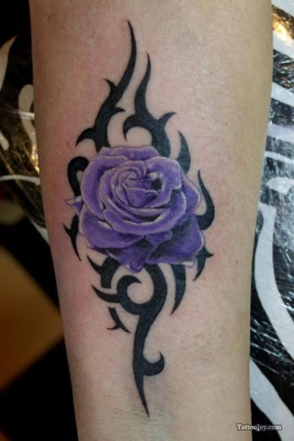 Purple Rose Tribal Tattoo