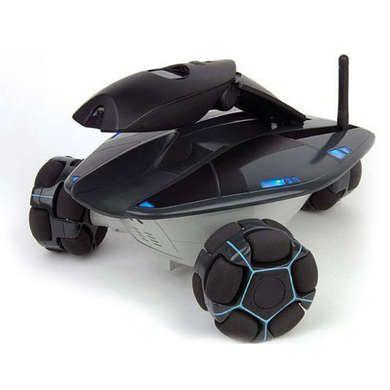 Rovio home security robot patrols your home and wifi-ready motion sensor camera films intruders